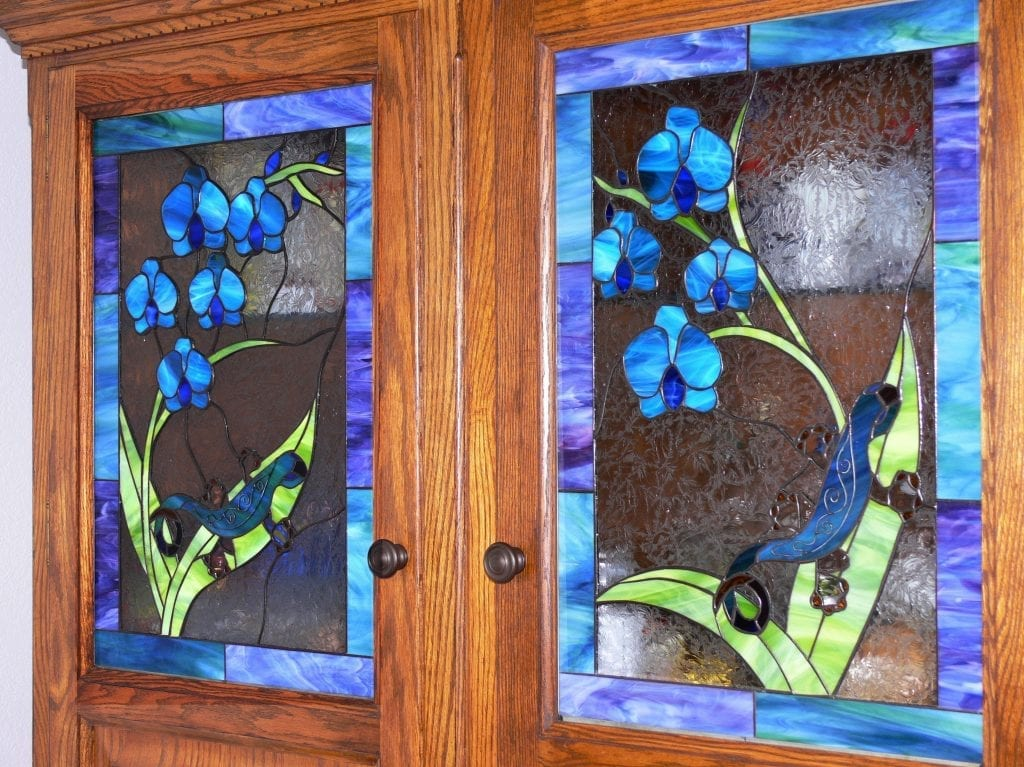 Gecko & Flower Blossoms Cabinet Inserts
