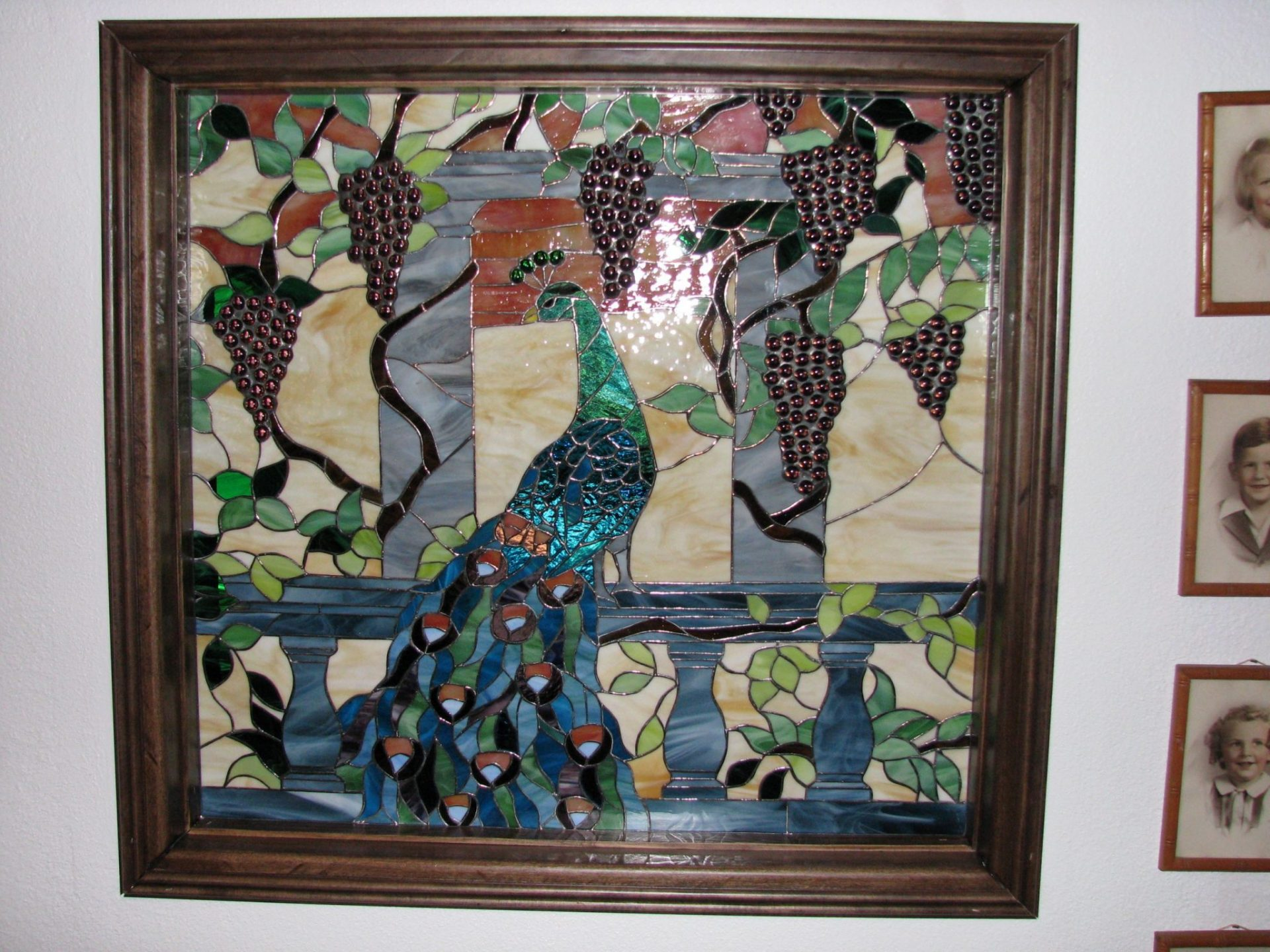 Peacock & Grapes Stained Glass Window Panel Used As A Room Divider