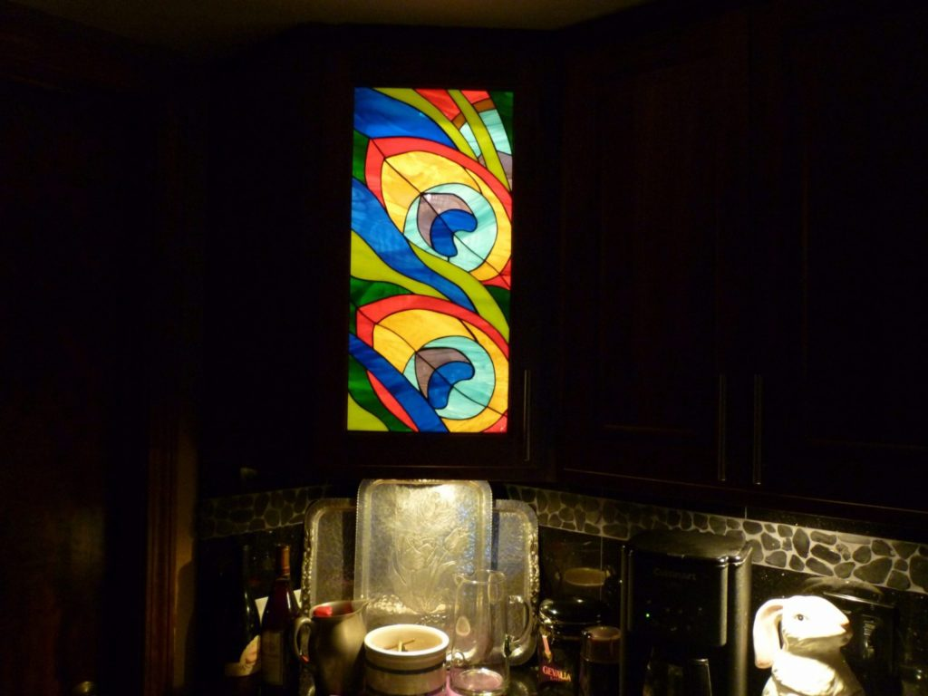 LED Backlit Abstract Kitchen Stained Glass Cabinet Insert