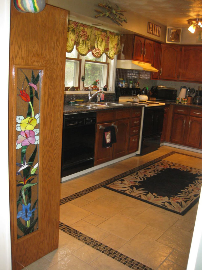 Hummingbird, Hibiscus And Bird Of Paradise Stained Glass Cabinet Insert