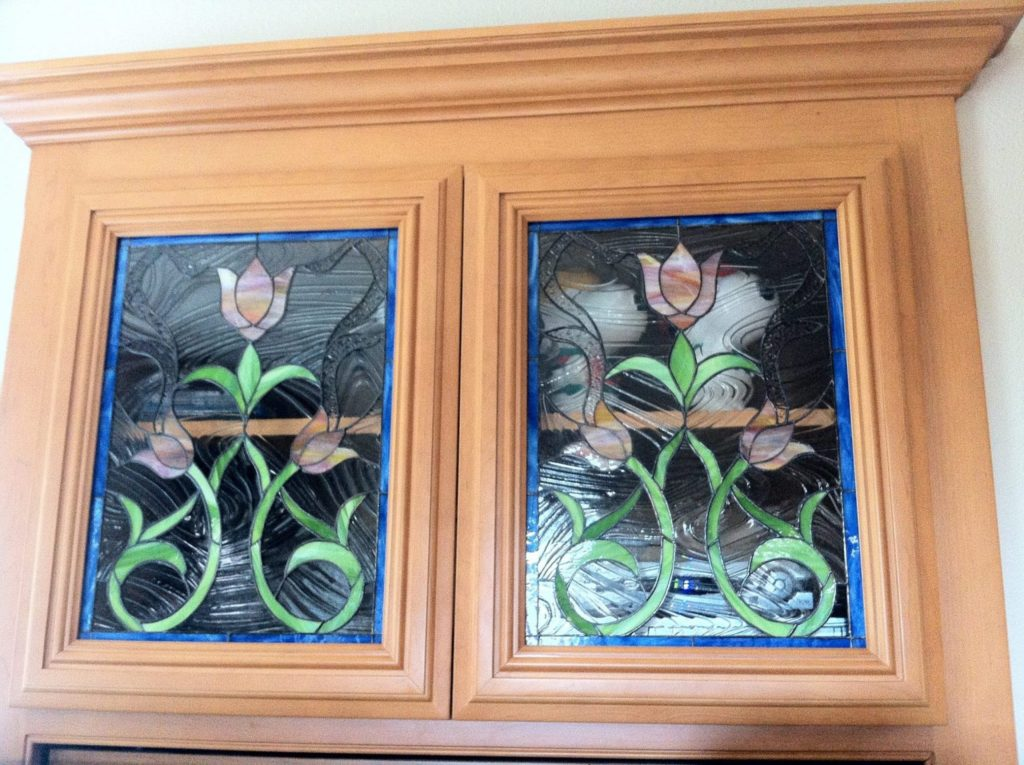 Stained Glass Cabinet Tulip Cabinet Insert