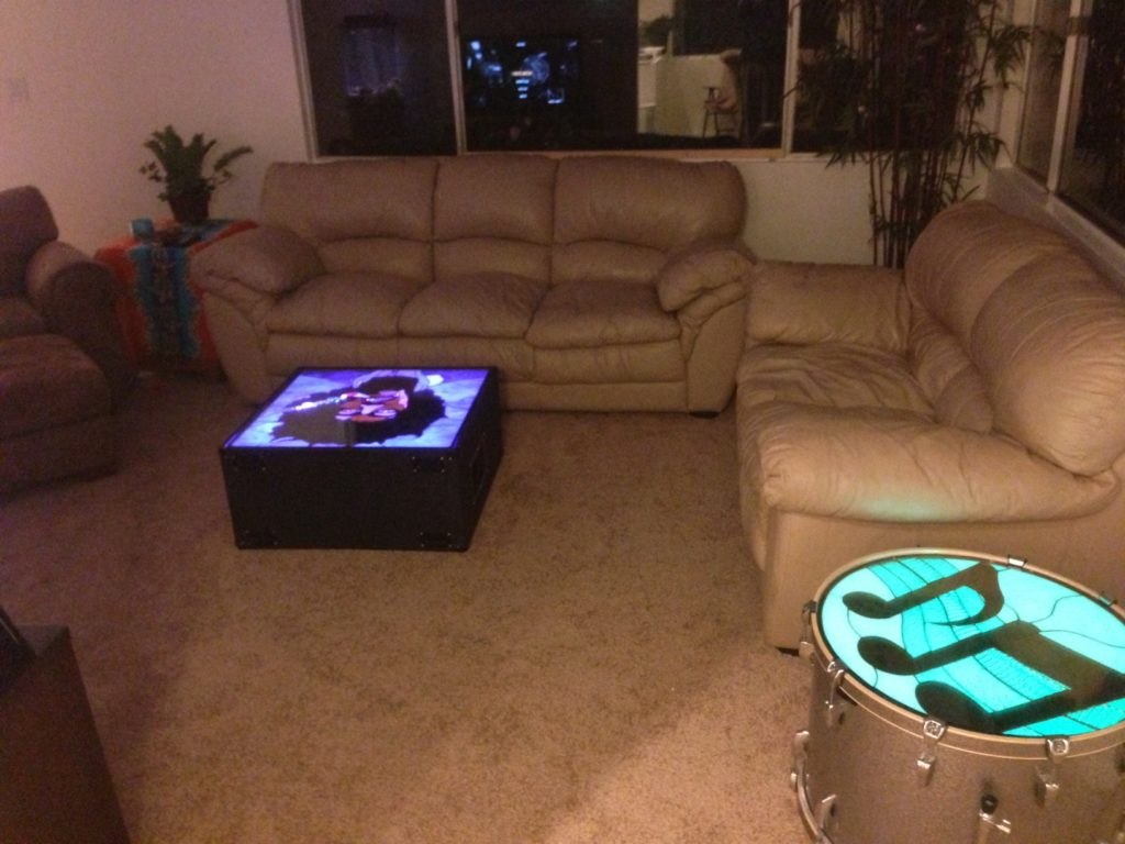 Illuminating stained glass coffee & drum tables