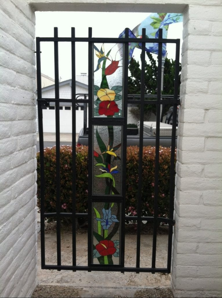 stained glass Hummingbird and Flowers fence inserts