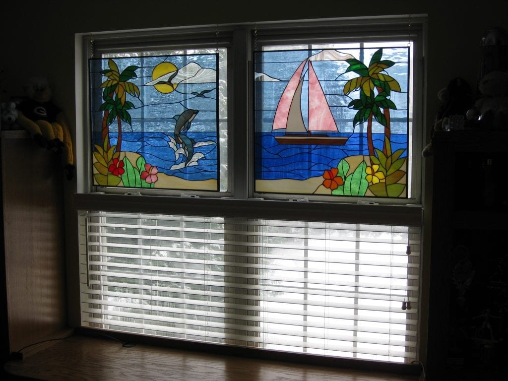 Dolphin & Sailboat Stained Glass Hung With Chains