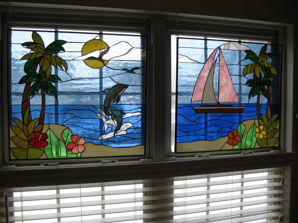 Dolphin & Sailboat Stained Glass