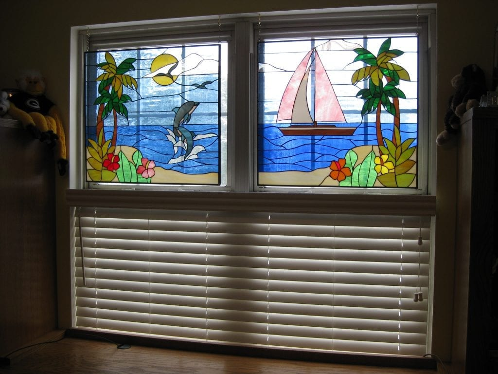 Dolphin & Sailboat Stained Glass Hung With Chains In Front Of An Existing Window!