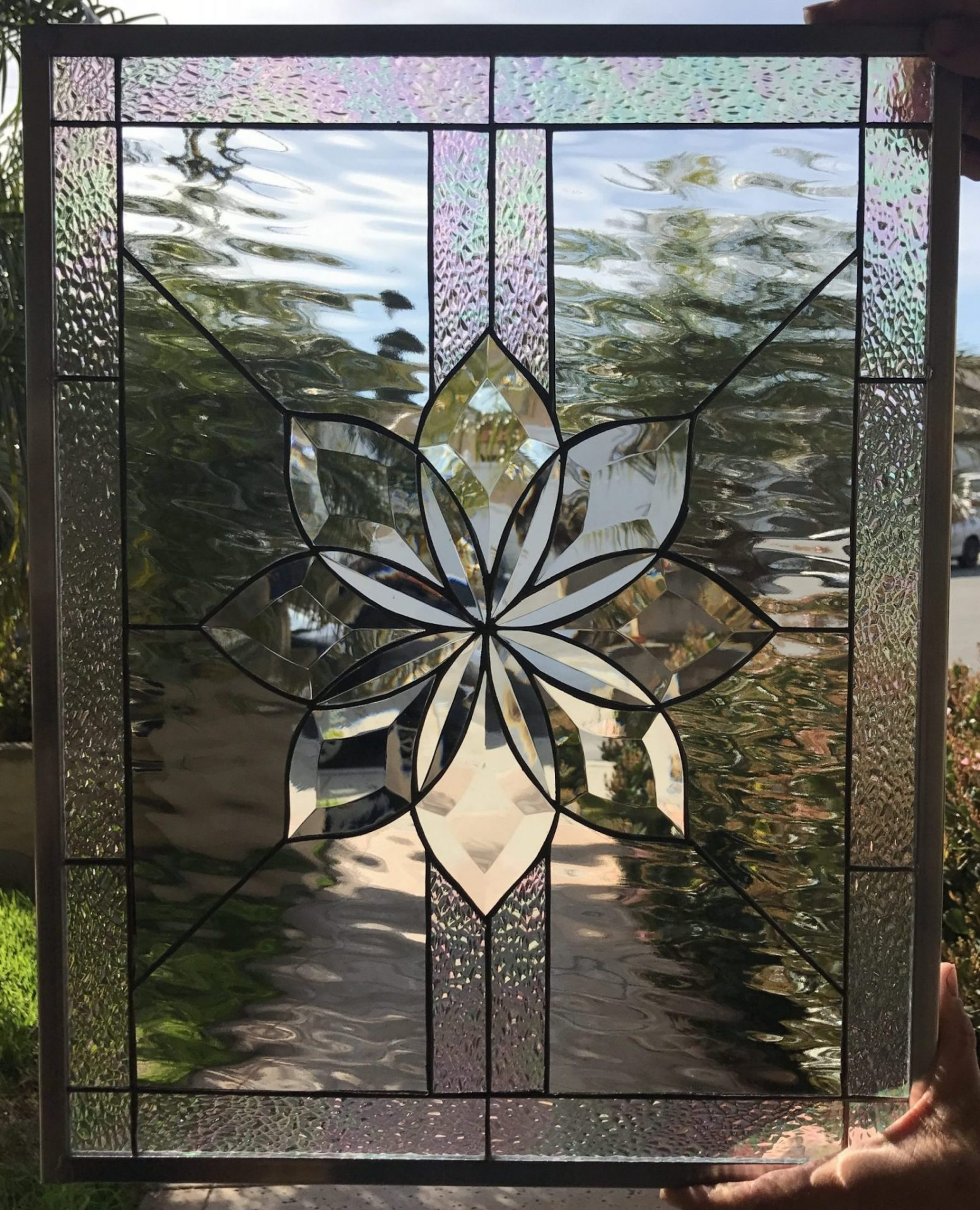 The Irvine Beveled Flower Leaded Stained Glass Window Panel