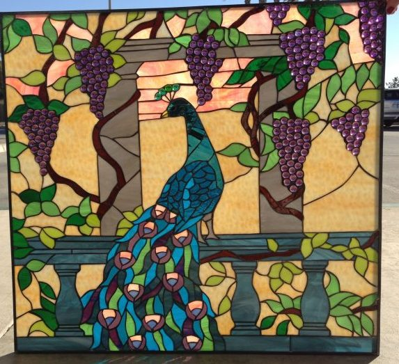 Colorful! Peacock & Grape Cluster Leaded Stained Glass Window