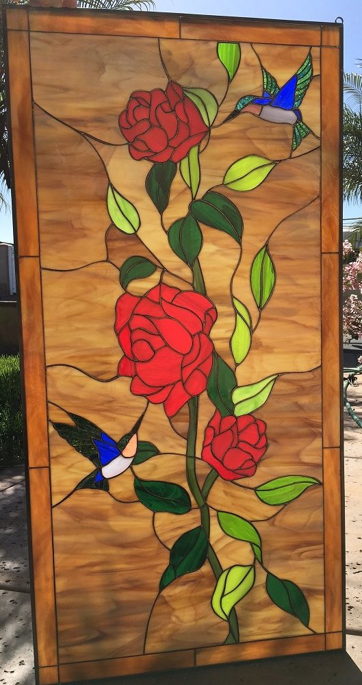 Elegant ! Hummingbird & Red Roses Leaded Stained Glass Window Panel