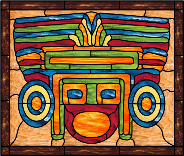 Stunning! Myan Tribal Mask Leaded Stained Glass Window Panel