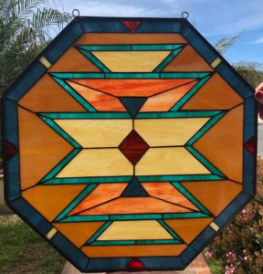 Warm Octagon Navajo Southwestern Leaded Stained Glass Window Panel