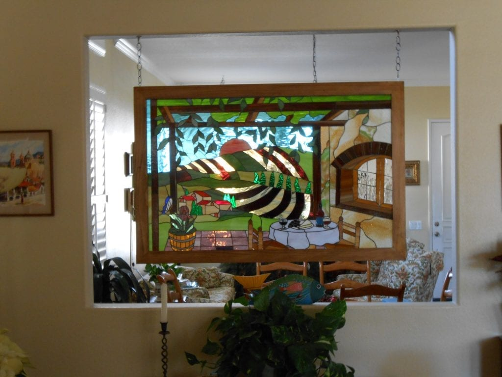 Stained Glass Panel Used As A Quick Solution For A Wall Partition
