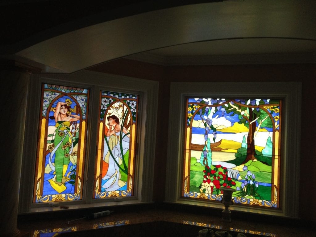 Hand Painting Features On Stained Glass!