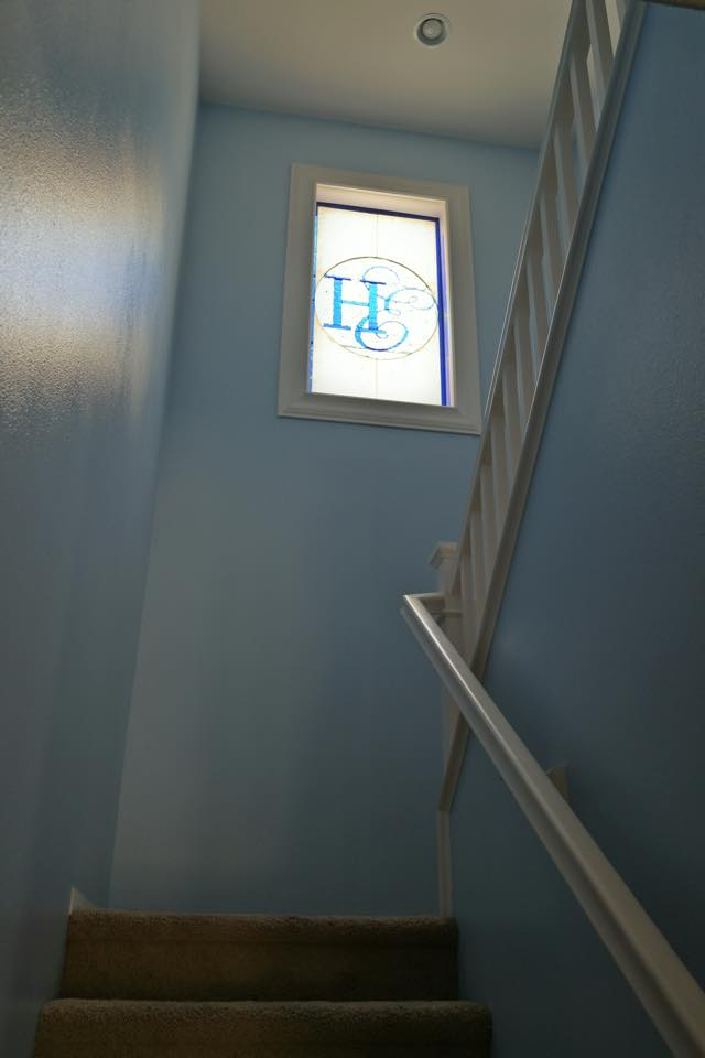 Stained Glass Panel Signed By Wedding Guests And Then Installed In Home