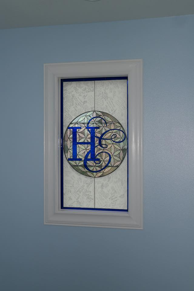 Unique!! Stained Glass Panel Signed By Wedding Guests And Then Installed In Home