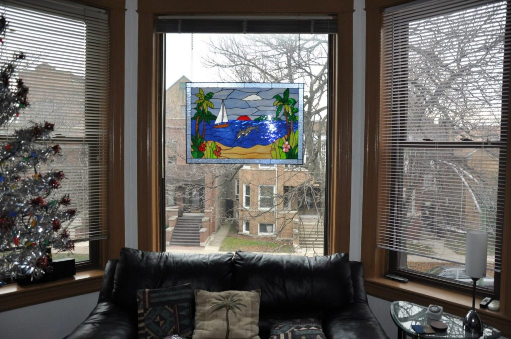 Palm Tree Dolphin & Sailboat Stained Glass Panel Suspended With Chains