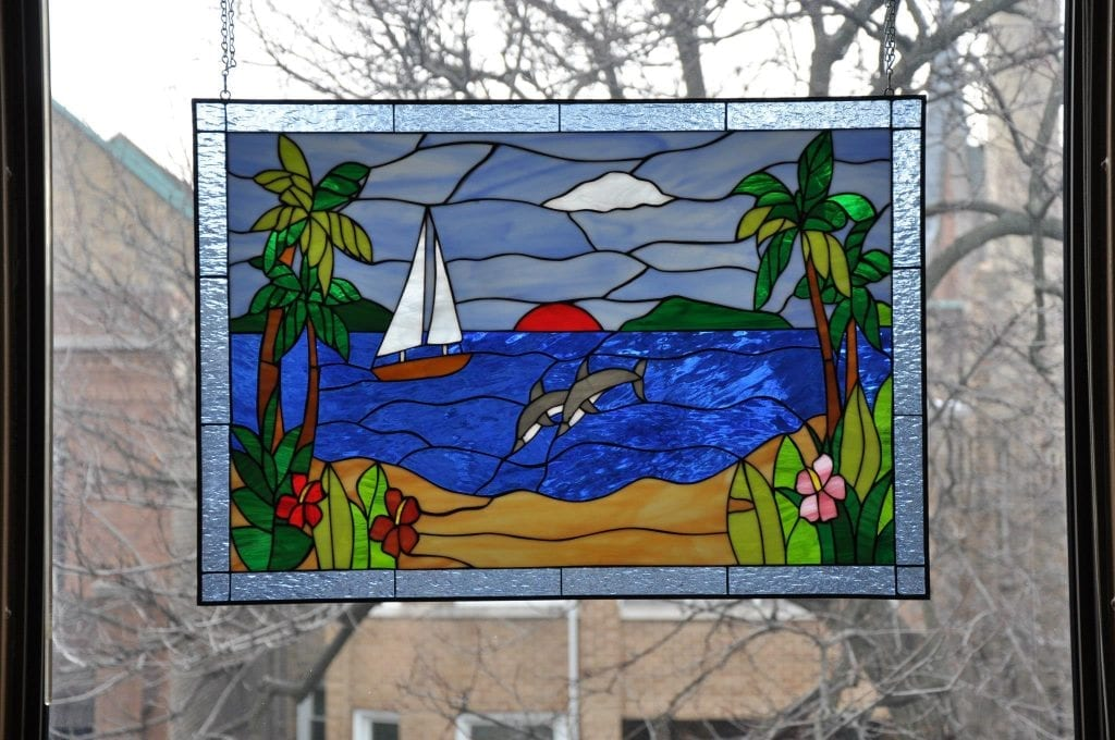 Palm Tree Dolphin & Sailboat Stained Glass Panel