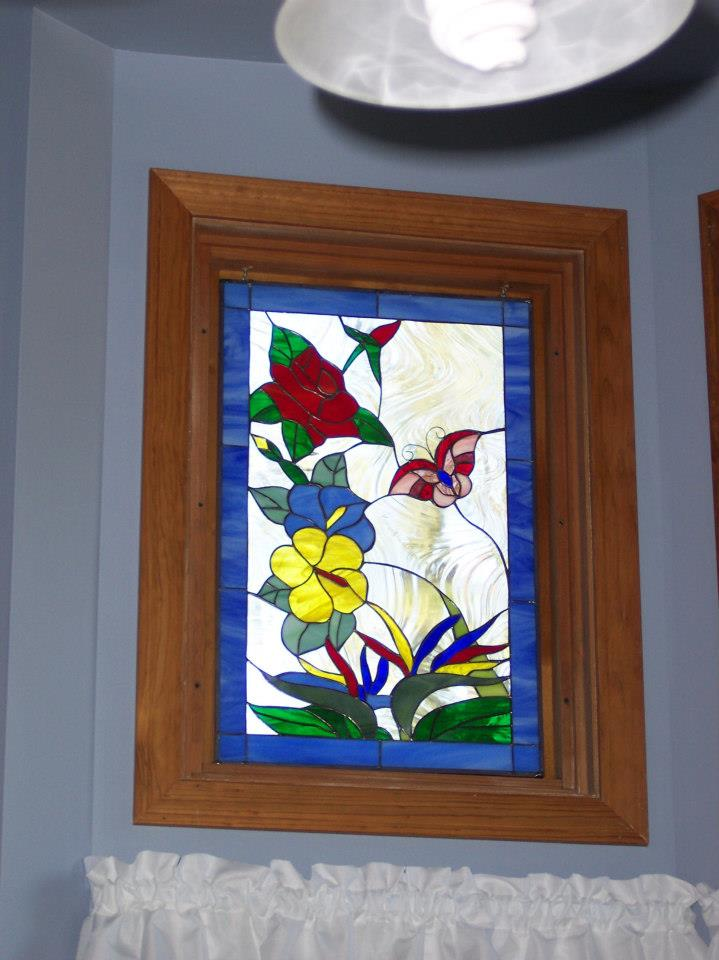 Colorful Hummingbird, Butterfly & Flowers Window Panels