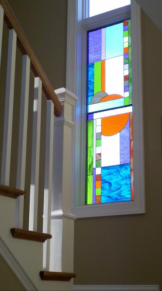 Soft Pastel Mission Prairie Style Stained Glass Privacy Stairway Window