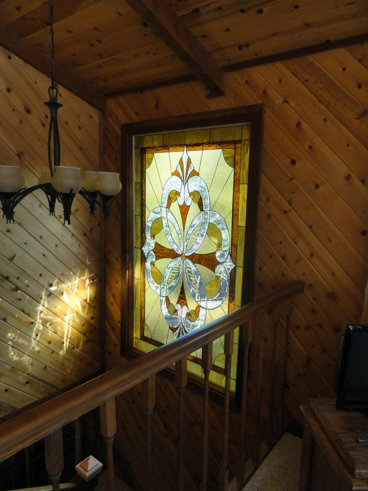 Stained & Beveled Glass Stairwell Window Made For A Wood Cabin