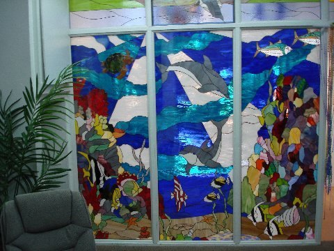 Large 3 Impact Resistant Stained Glass Panel Wall Partition
