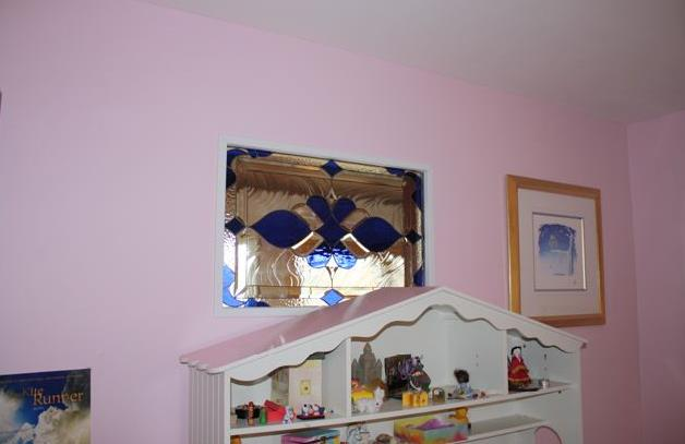 """Beveled & Stained Glass """"Look Through"""" Hallway Window"""