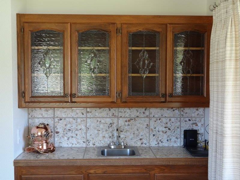 Beautiful Leaded WaterGlass & Beveled Cabinet Inserts (after)