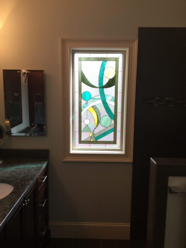 Abstract Geometric Stained Glass Window