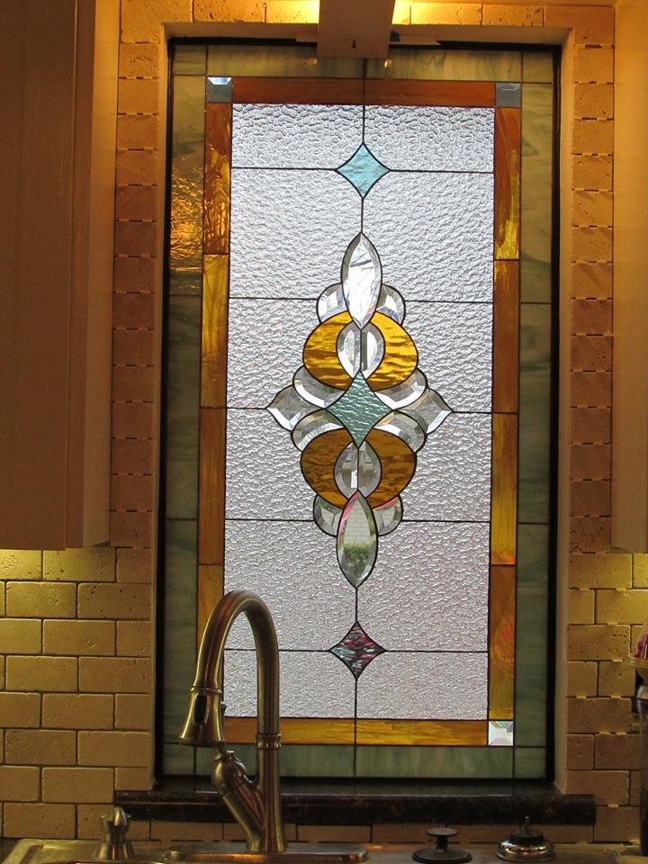 Lovely Stained & Beveled Glass Window above Kitchen Sink