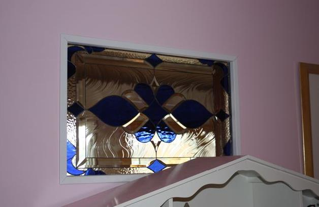 """Beveled & Stained Glass """"Look Through"""" Hallway Window Into A Nursery"""