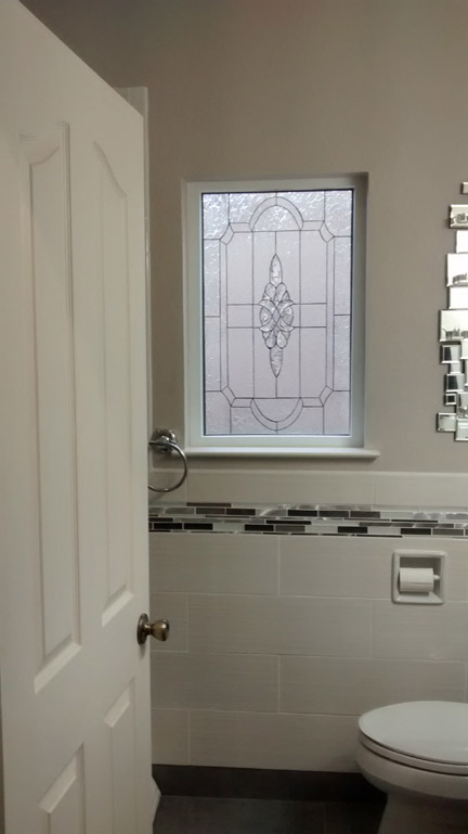 Clear Beveled Window Installed in Bathroom (After)