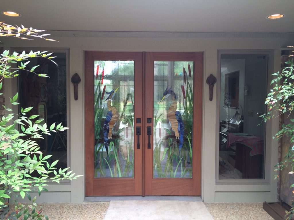 Incredible Entryway Transformation With Our Impact Resistant Stained Glass Door Inserts (After)
