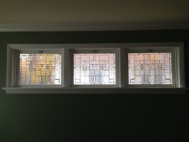 Clear water & beveled glass windows for privacy and natural light!