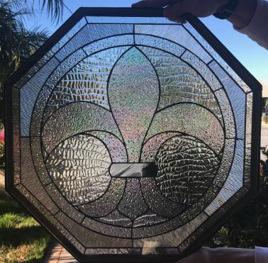 Octagon Fleur De Lis Stained Clear Textured Leaded Gl Window Insert