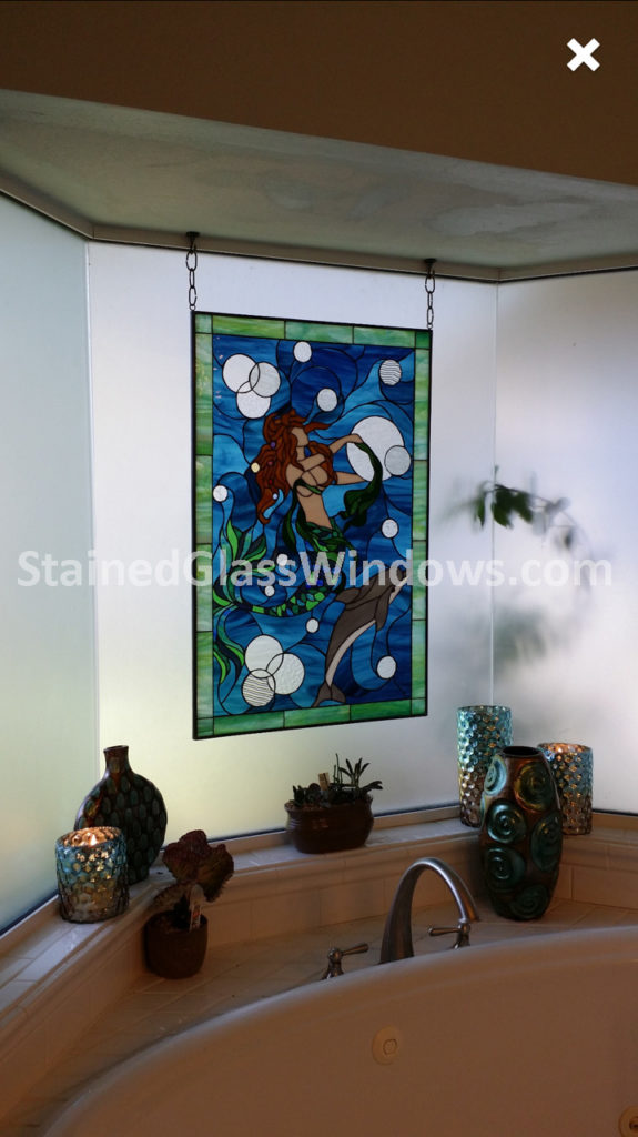 Mermaid & Dolphin Stained Glass Window In A Bathroom Window
