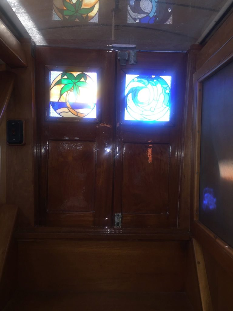 Insulated Stained Glass Panels Installed In The Doors Of A Sailboat