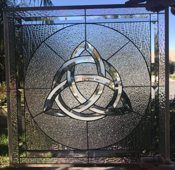 """The """"Beveled Limerick"""" All Clear Irish Celtic Knot Leaded Stained Glass Window Panel"""