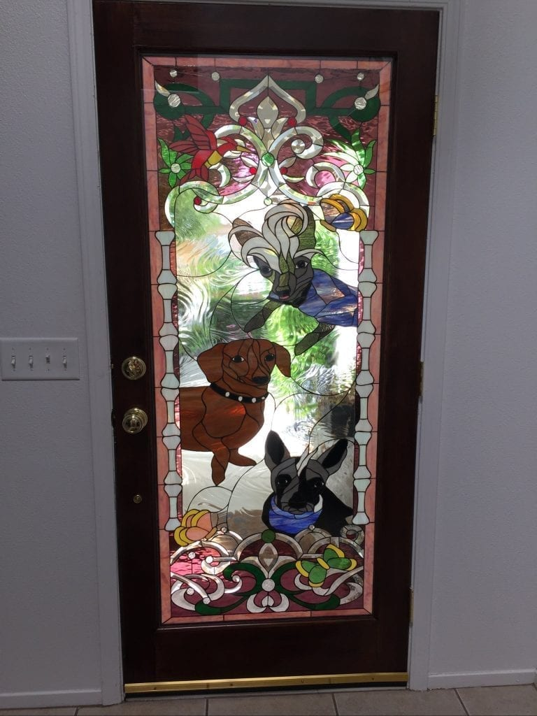 Custom Designed Stained & Beveled Glass Door of Client's Pets! (insulated within Clear Tempered Glass)