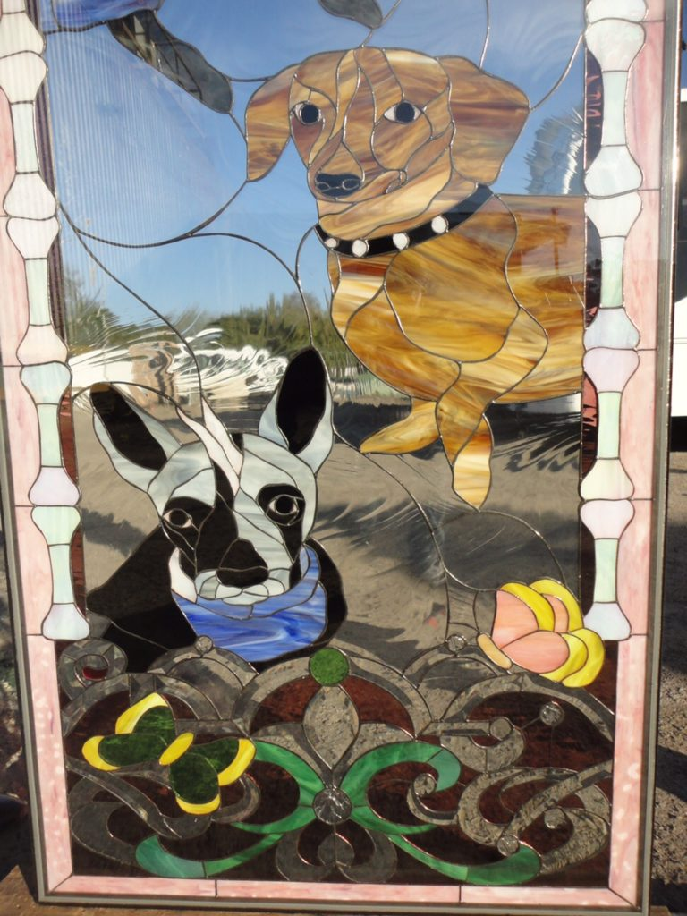 Custom Designed Stained & Beveled Glass Door of Client's Pets!