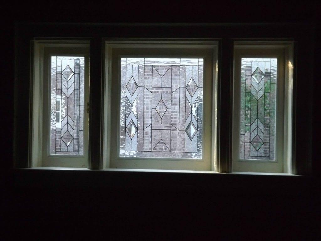 Three prairie craftsman style all clear leaded glass windows