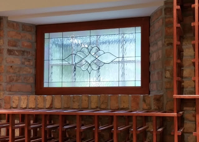 All clear waterglass and beveled glass window panel