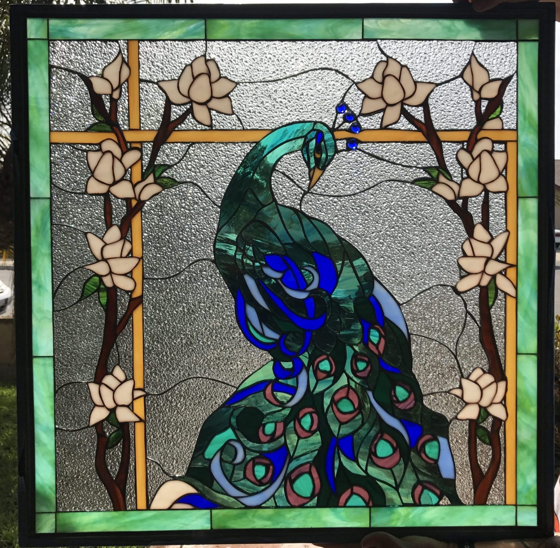 Magnificent Peacock Magnolia Flowers Leaded Stained Glass Window Panel