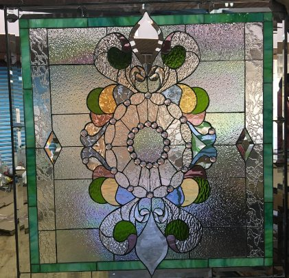 """Gorgeous! """"Sierra Madre"""" Iridescent Victorian Jewel Leaded Stained Glass Window Panel"""