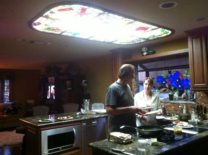 Back Lit Ceiling Stained Glass Panels Made For A Kitchen