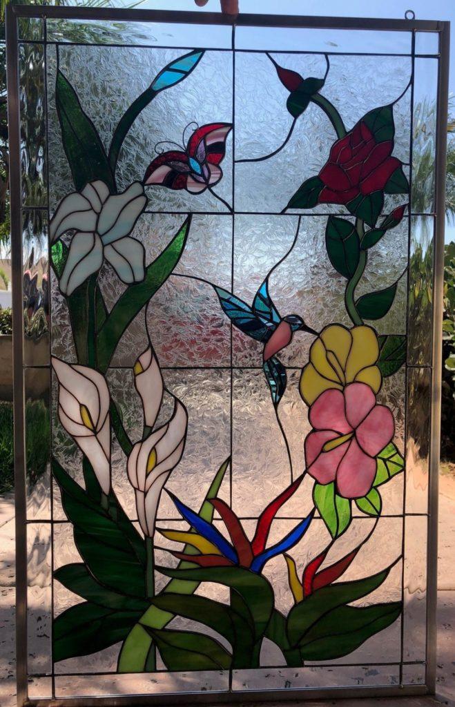 Elegant! Hummingbird, Butterfly & Flowers Leaded Stained Glass Window Panel