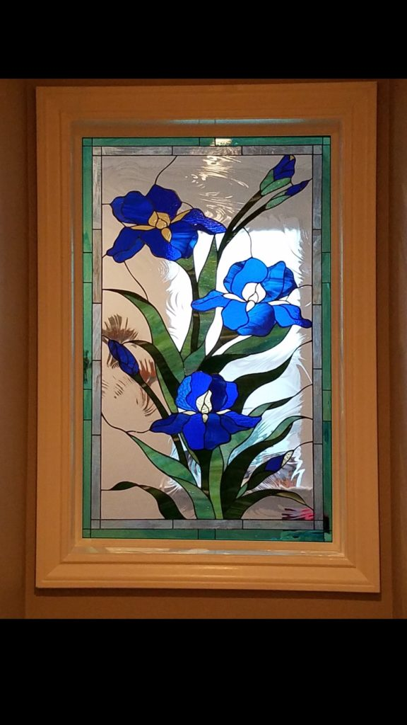 "Lovely ""iris trio"" stained glass"