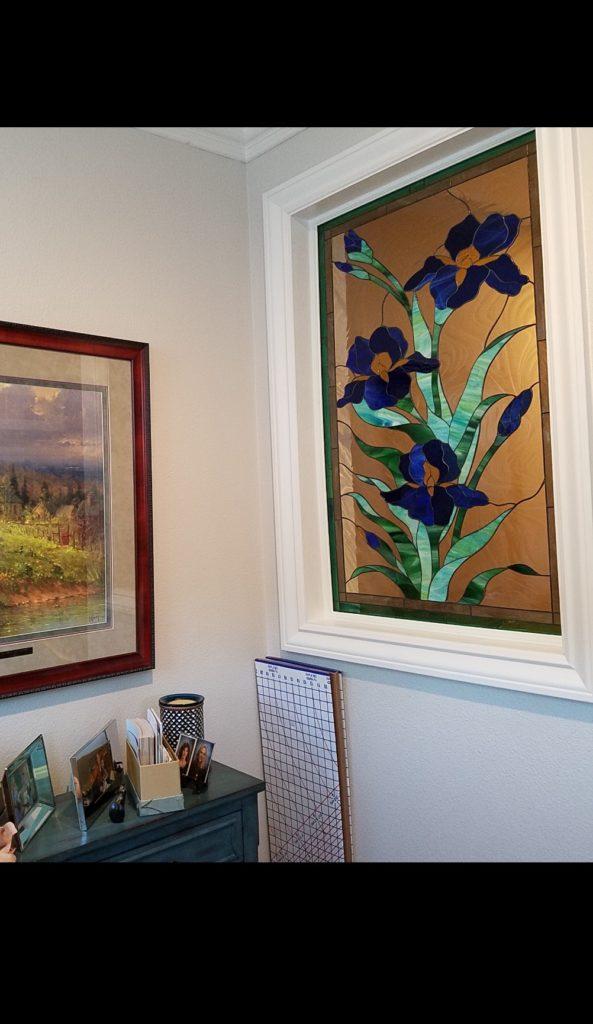 "Lovely ""iris trio"" stained glass window"