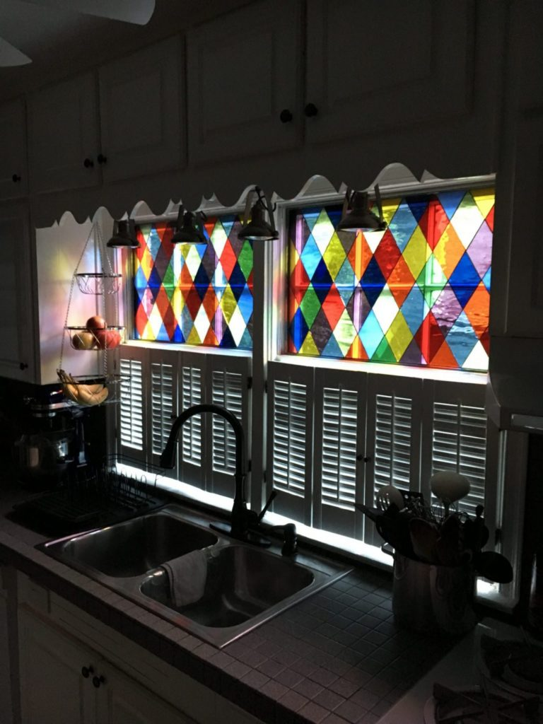 Traditional Harlequin Colored Diamonds Stained Leaded Glass Window Panels