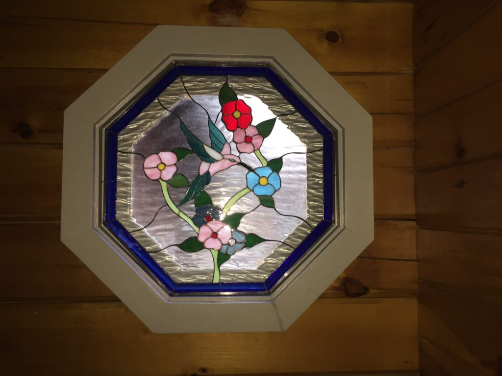 Stained glass hummingbird & flowers octagon panel