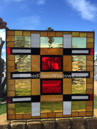 """Magnificent! The """"Stanford"""" Mission Prairie Stained Glass Window Panel"""